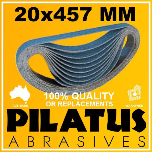 10 PACK - 20x457MM SANDING BELT 40 GRIT - ZIRCONIA FOR METAL LINISHING SANDING