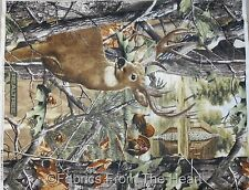 Realtree Buck Deer Turkey Woods Nature Trees ONE YARD Panel 100% Cotton fabric