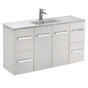 Bathroom 1200mm Vanity Cabinet Ceramic Basin Top Slimline 120d Ebay