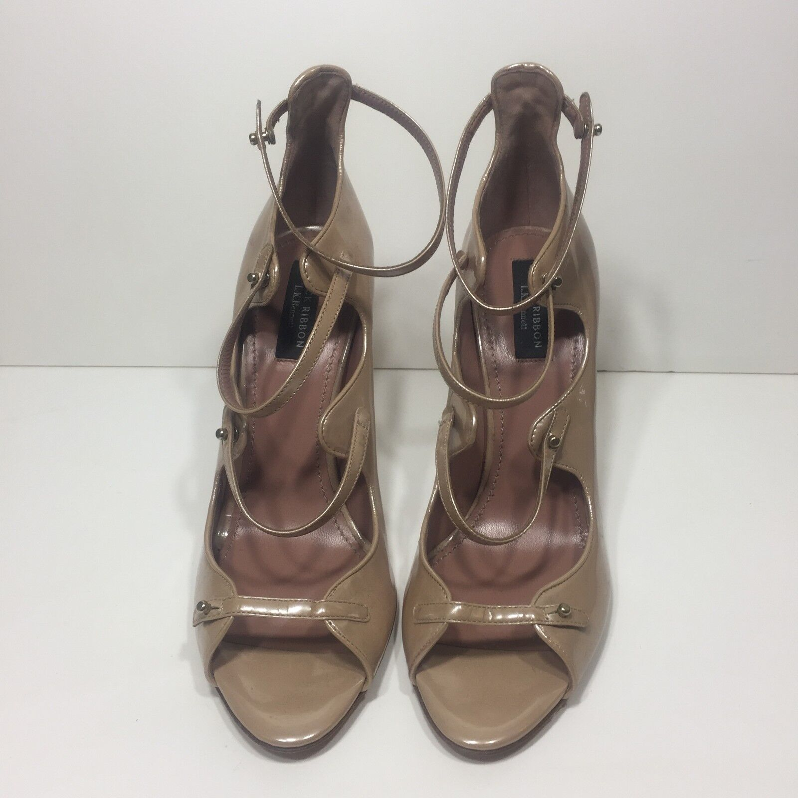 L.K. Bennett Patent Strappy Nude Heels Size 40 New without Box