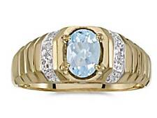 Mens Natural 7x5mm Oval Aquamarine and Diamond Ring 10K Yellow Gold