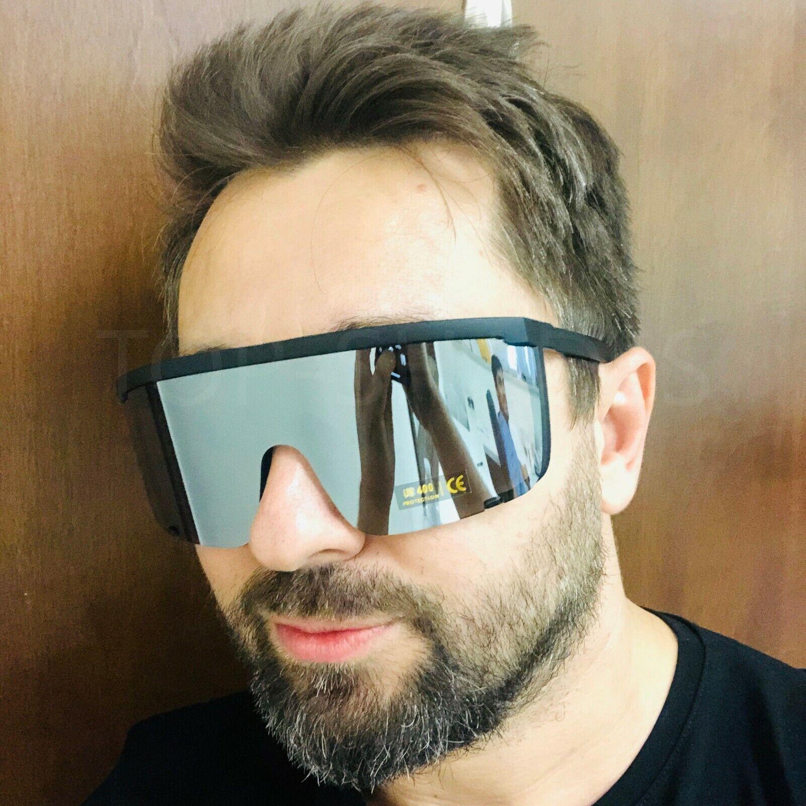 Oversized Exaggerated Visor Wrap Shield Mask Large Mirror Sunglasses Women Mens