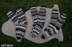 Wollstrümpfe Gr.40-44 Handgestrickt Winterstrümpfe Gefüttert Strickware Socken
