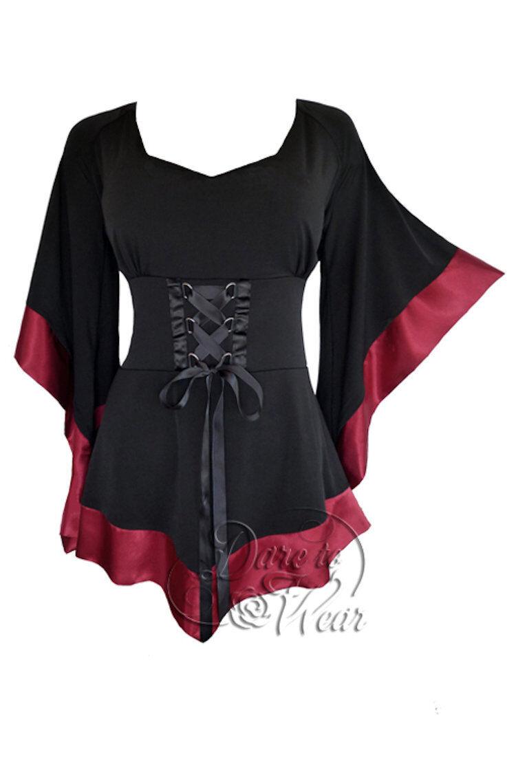 Dare To Wear Victorian Gothic Boho Woherren Treasure Corset Top schwarz Burgundy M