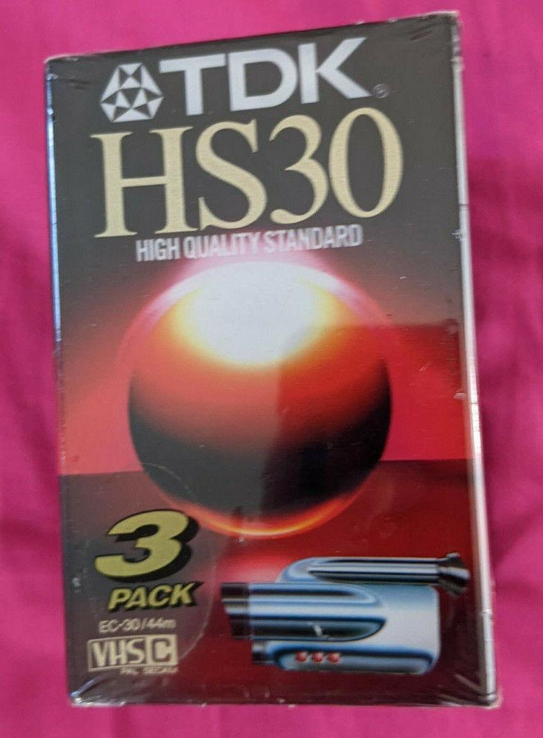 TDK HS30 Camcorder Tapes - Pack Of 3 Sealed VHS C Free UK P&P