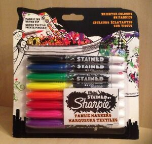 Sharpie Stained Fabric Markers Assorted Ink With Brush Style Nib Pack Of 8 - Chester, Cheshire, United Kingdom - Sharpie Stained Fabric Markers Assorted Ink With Brush Style Nib Pack Of 8 - Chester, Cheshire, United Kingdom