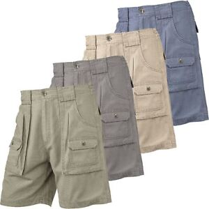 Mens-Elasticated-Cargo-Chino-Combat-Shorts-100-Cotton-Work-King-Pants-32-54