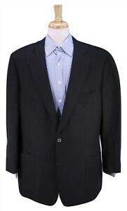 PAUL-STUART-Solid-Black-Silk-Linen-Patch-Pocket-2-Btn-Blazer-Jacket-46R
