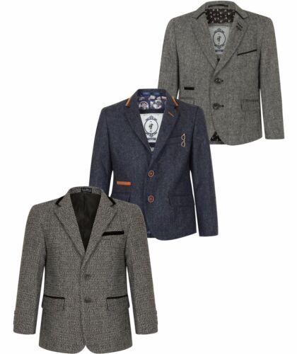 Kids Blazer Smart Formal Tweed Childrens Boys Dinner Jacket Lined Ages 1-15