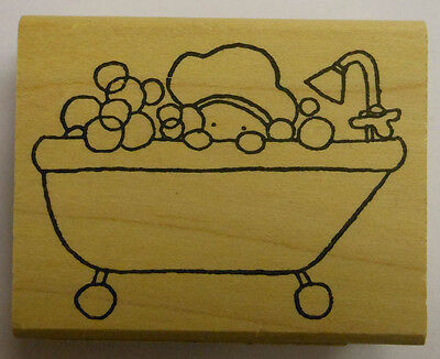 Baby in Bubble Bath Rubber Stamp