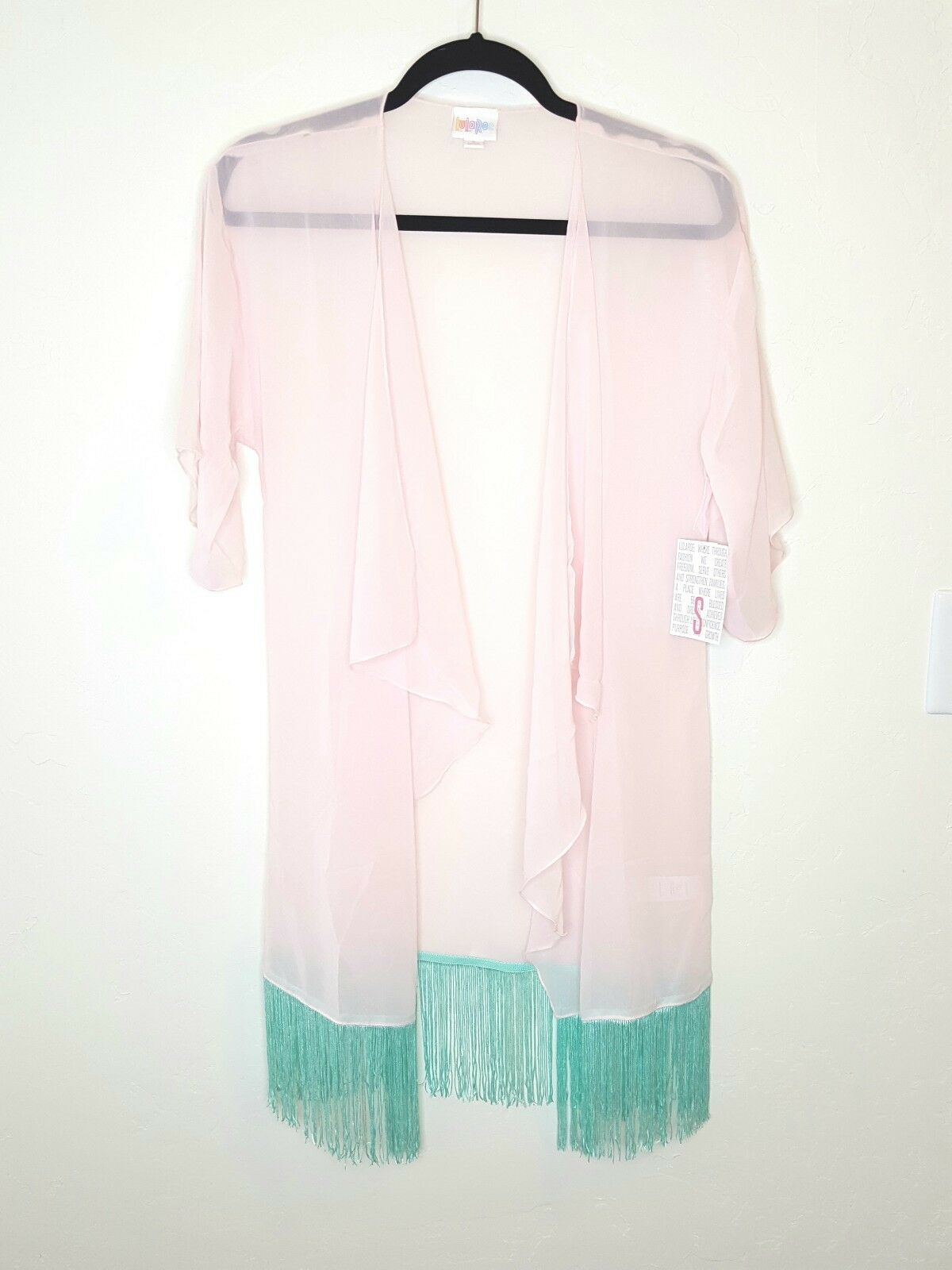Lularoe Monroe New Light Rosa And Turquoise Sheer Kimono Größe Small