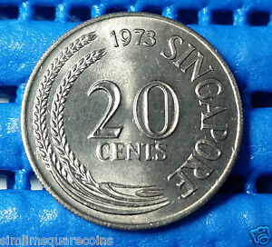 1973 Singapore 20 Cents Sword Fish Coin