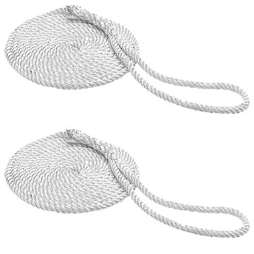 2 Pack of 1//2 Inch x 15 Ft Three Strand Twisted Nylon Mooring and Docking Lines