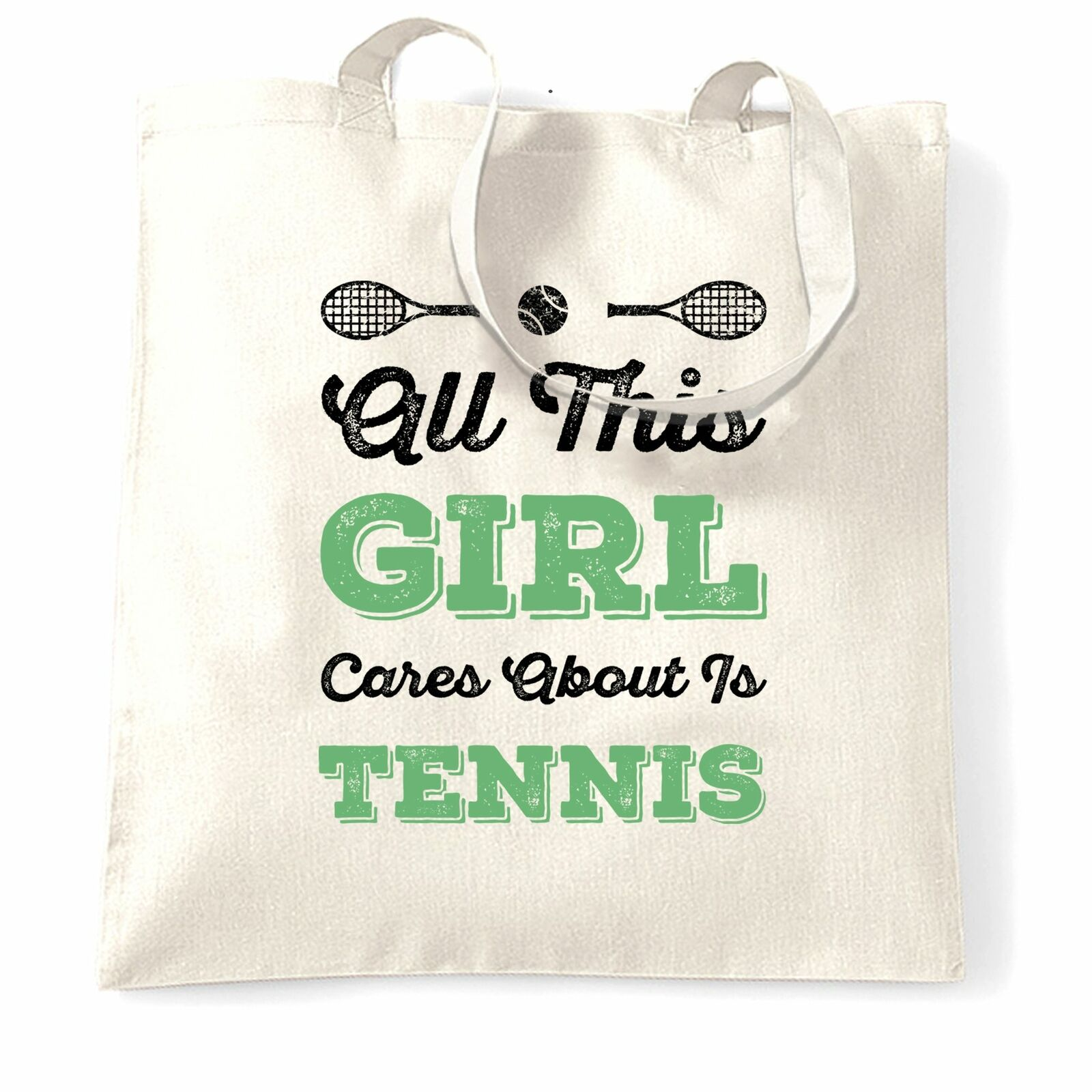 Sports Tote Bag All This Girl Cares About Is Tennis Funny Player Match Game