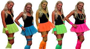 4-pc-Set-Neon-Pleated-Tutu-1980s-Rave-Fancy-Dress-Dance-School-Hen-Party-UK-Made