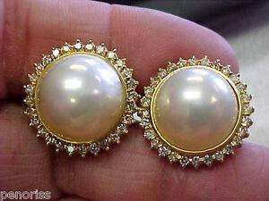 Image Is Loading Beautiful Mabe Pearl Amp Diamond Earrings 14k Gold