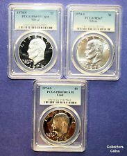 """1974 3 Coin """"S"""" Eisenhower Set wClad & Silver Proof in PCGS69 @ Wholesale"""