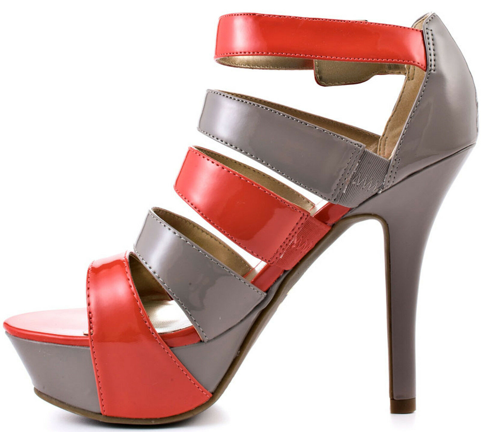 NEW G by Guess Neina Coral and Grey Grey Grey Platform Heel Sandal Size 8-1 2 US NWOB NWOT a7fe5f
