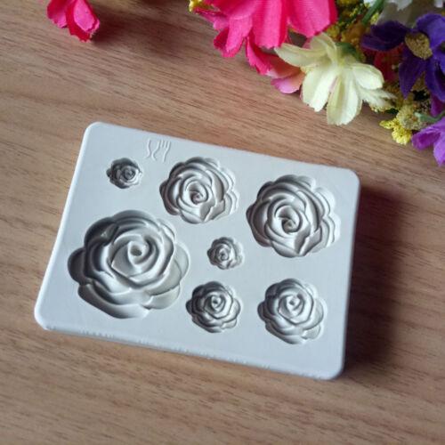 3d rose flower silicone fondant chocolate mould cake decor sugarcraft mold WH