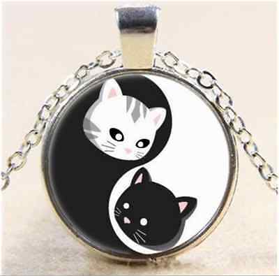 Ying and Yand Cat Cabochon Glass Tibet Silver Chain Pendant  Necklace
