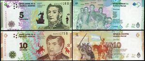 ARGENTINA-SET-2-Pcs-5-10-pesos-2015-2017-NEW-UNC
