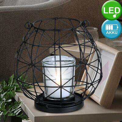 LED Laterne Decken Hänge Lampe Wohn Zimmer Deko Tisch Steh Timer Leuchte schwarz