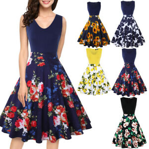 Womens-Floral-Vintage-Midi-Dress-Sleeveless-V-Neck-Casual-Party-Evening-Cocktail