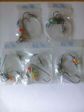 5x Running ledger sea fishing pennel rigs 3/0 Aberdeens good for cod bass etc