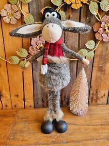 Goldige XL Esel Figur 58cm Weihnachten Deko Tisch Winter Schal Mütze Tier