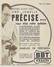 Z9904 Jumelles de Précision BBT KRAUSS -  Pubblicità d'epoca - 1937 Old advert