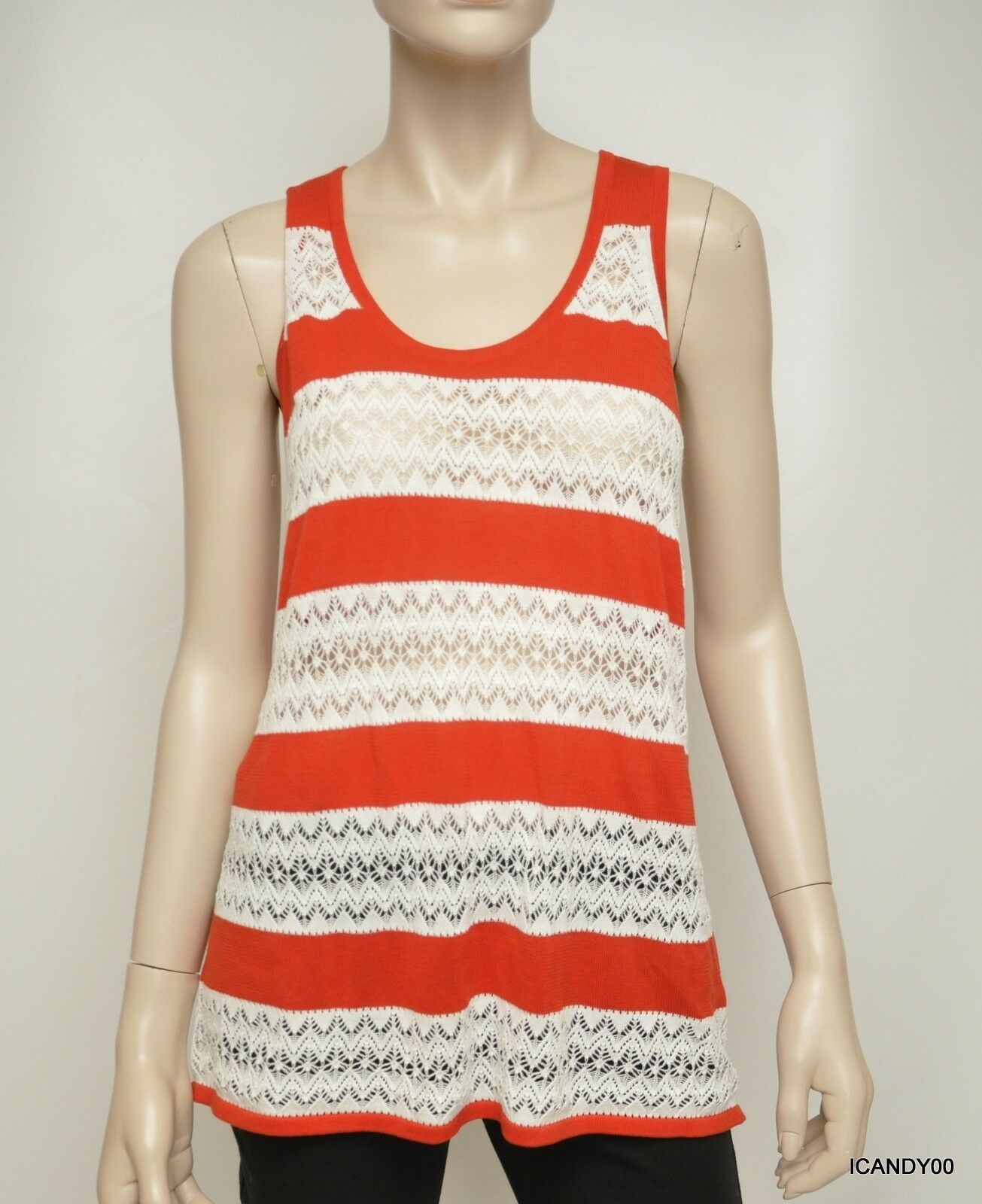 Nwt  L.A.M.B. Striped Cotton Pointelle Knit Tank Top Racerback rot Weiß M