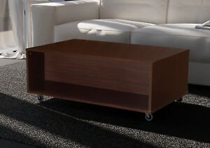 Mesa centro con ruedas salon comedor color wengue 2 compartimentos ...