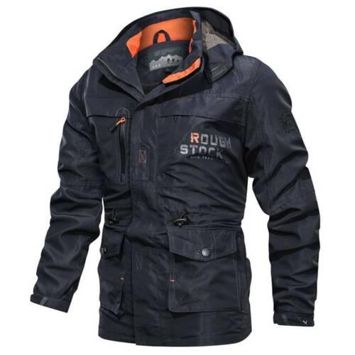 Mens Outdoor Military Cargo Work Jacket Winter Hooded Slim Tactical Fishing Coat