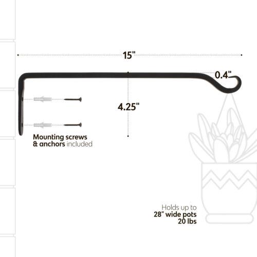 "7PennBlack Hanging Plant Bracket 15"" Inch Wall Plant Hanger Windchime Hanger"
