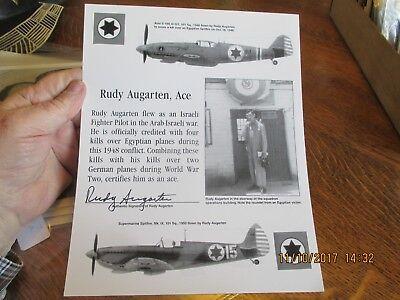 Arieh Oz Signed Cut Signature GOE Lithograph C-130H Hercules Israeli Air Force