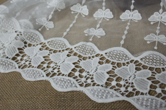 """Milk Silk Lace Fabric White Butterfly Embroidery Floral Wedding 51.2"""" Width"""