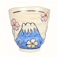 Japanese YUNOMI tea cup Mt.Fuji Cherry blossoms MINO yaki ware made in japan