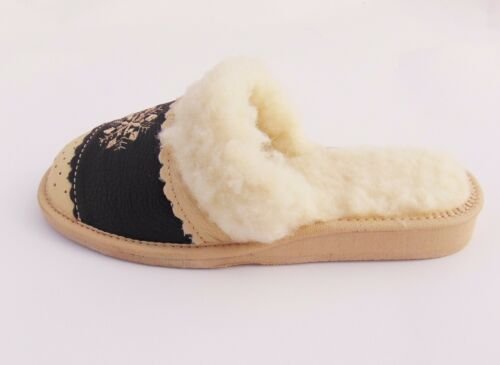 Ladies Real Leather Slippers Warmed*EU HAND MADE PRODUCT*size 3,4,5,6,7