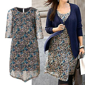 schoenes-Chiffon-Kleid-Gr-44-CASUAL-Tunika-Buero-DRESS-Blumen-Muster
