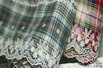 """Broderie Anglaise check cotton eyelet lace trim 4.9"""" white YH1178 laceking2013"""