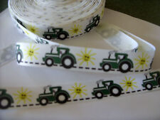22mm x 1m g/grain ribbon Green Tractor farm JD boy girl birthday cake decoration