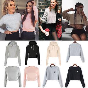 Womens-Hoodie-Crop-Top-Casual-Pullover-Hooded-Sweatshirt-Ladies-Hoody-Jumper-Top