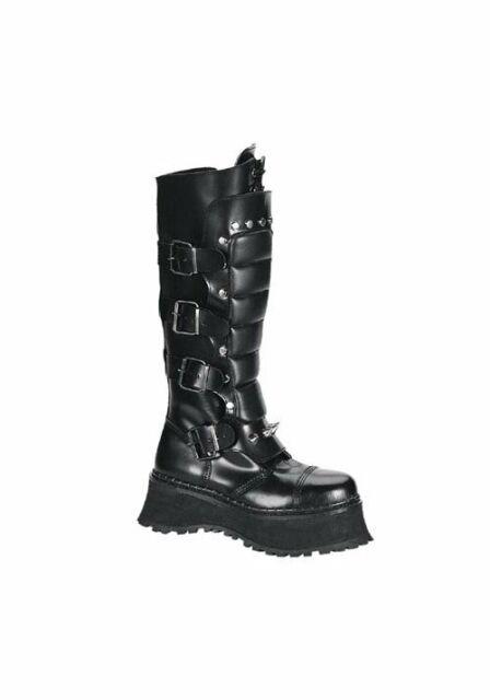 73f431bfd0d Demonia 0066 Mens Ravage II Black Leather Buckle Platform BOOTS ...