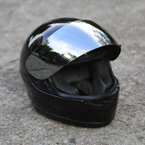 Motorcycle-Mirror-Shield-Gloss-Black-Full-Face-DOT-Adult-Helmet-Size-M-XL-HOT