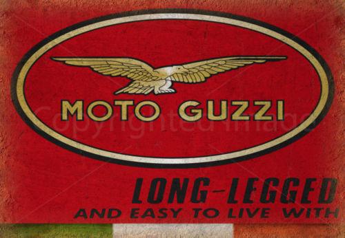 VINTAGE GARAGE MOTO GUZZI ITALIAN METAL TIN SIGN POSTER WALL PLAQUE
