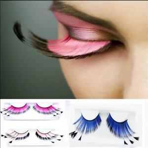 0dfc51b3b09 Image is loading Women-Fancy-Soft-Long-Feather-False-Eyelashes-Eye-