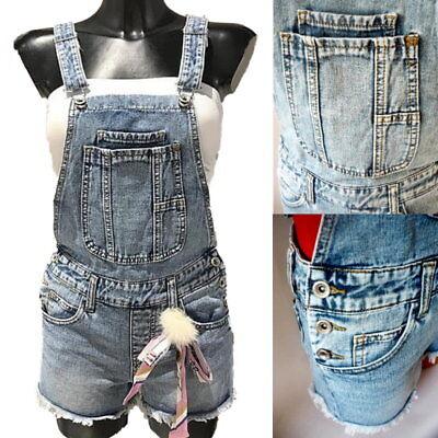 Details zu Damen Jeans Shorts Einteiler Overall Latzoverall Latzhose* XS S M L 34 36 38 40