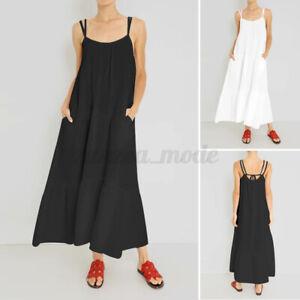Mode Femme Plage Bohémienne Sans Manche Col rond Ample Couture Robe Dresse Plus