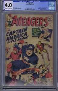 Avengers #4 Marvel 1964 CGC 4.0 (VG) 1ST S.A. APPEARANCE OF Captain America !
