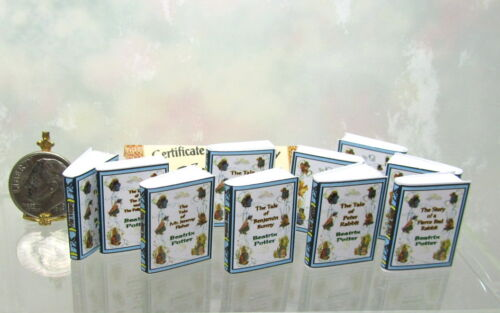 Dollhouse Miniature Set of 10 Beatrix Potter  Books with Blank Pages